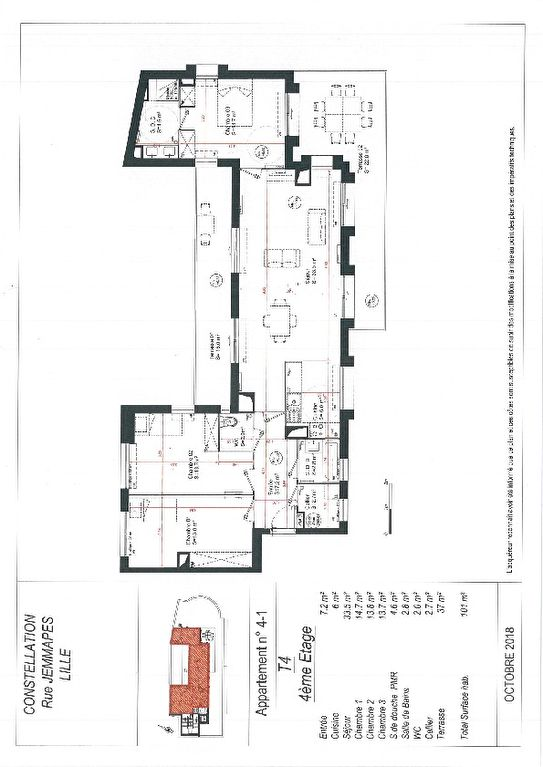 T4 de 100 m2 avec terrasse et stationnement de 43 m2
